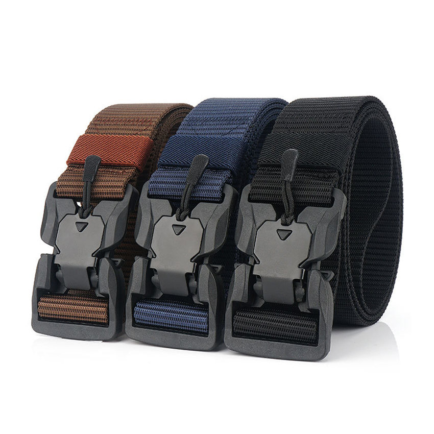 New Trend Men Belt Tank Stripe Magnetic Buckle Casual Belts Outdoor Tactical Belt For Jeans Comfortable Nylon Male Trousers Belt
