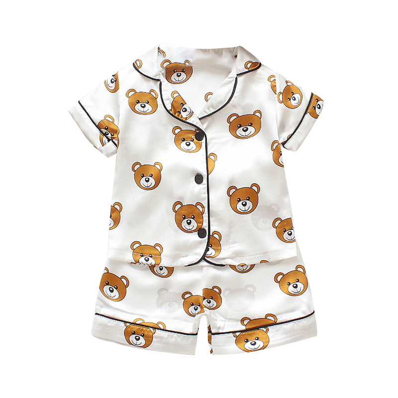 Kids Pajamas Set Silk Women Men Pajamas Boys Girls Bear Print Pyjamas Short Sleeve Blouse Tops+Shorts underwear & sleepwears 2