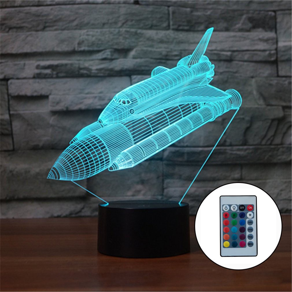 Space Shuttle 3D Night Light Colorful Led Vision Light Gift Atmosphere Table Lamp For Drop Shipping Wholesale Sale Supplier