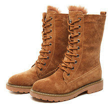 Brown Flat Platform Military Snow Boots Women Shoes Winter Warm Fur Fashion Round Toe Lace-up Pig Leather Boots Ladies Shoes retro punk style winter new fashion warm shoes mens genuine leather cow round toe lace up ankle boots male boots flat fur lining