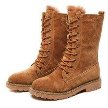 купить Brown Flat Platform Military Snow Boots Women Shoes Winter Warm Fur Fashion Round Toe Lace-up Pig Leather Boots Ladies Shoes дешево