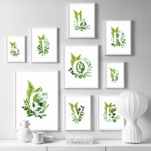 Green Plants Alphabet Quotes Flower Leaf Canvas Painting Nordic Posters And Prints Wall Art Pictures For Living Room Home Decor цена 2017