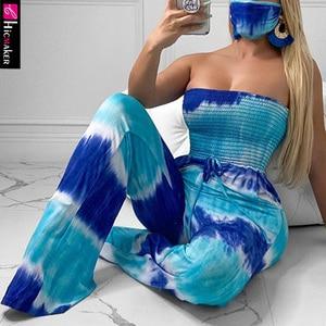 Women Tie Dye Printed Strapless Wide Leg Jumpsuit