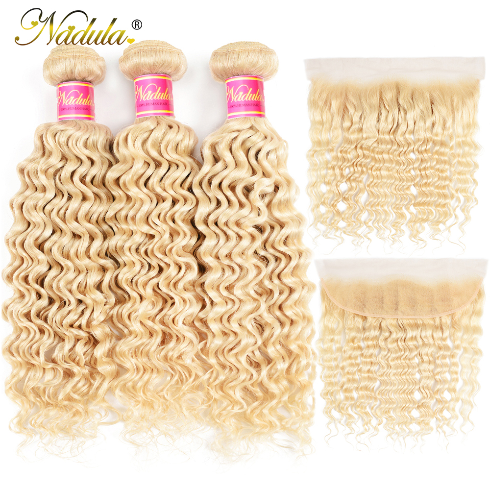 Nadula Hair Blonde Bundles With Frontal Brazilian Deep Wave Hair Bundles With Closure Human Hair 613 Bundles with Frontal image