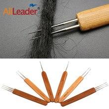 Alileader bambu crochê gancho 1/2/3 de aço inoxidável gancho de crochê agulhas para fazer peruca tampão dreadlock peruca ferramenta de tecelagem