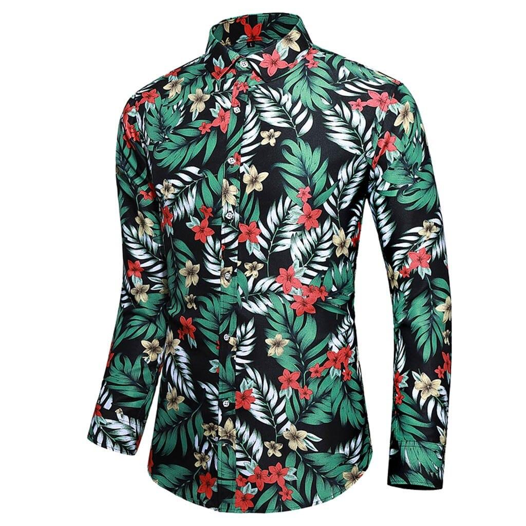 2019 hot products Men Casual Summer Printed Button Long Sleeve Hawaiian T-Shirt Top Blouse Dropshipping Discount Free Shipping