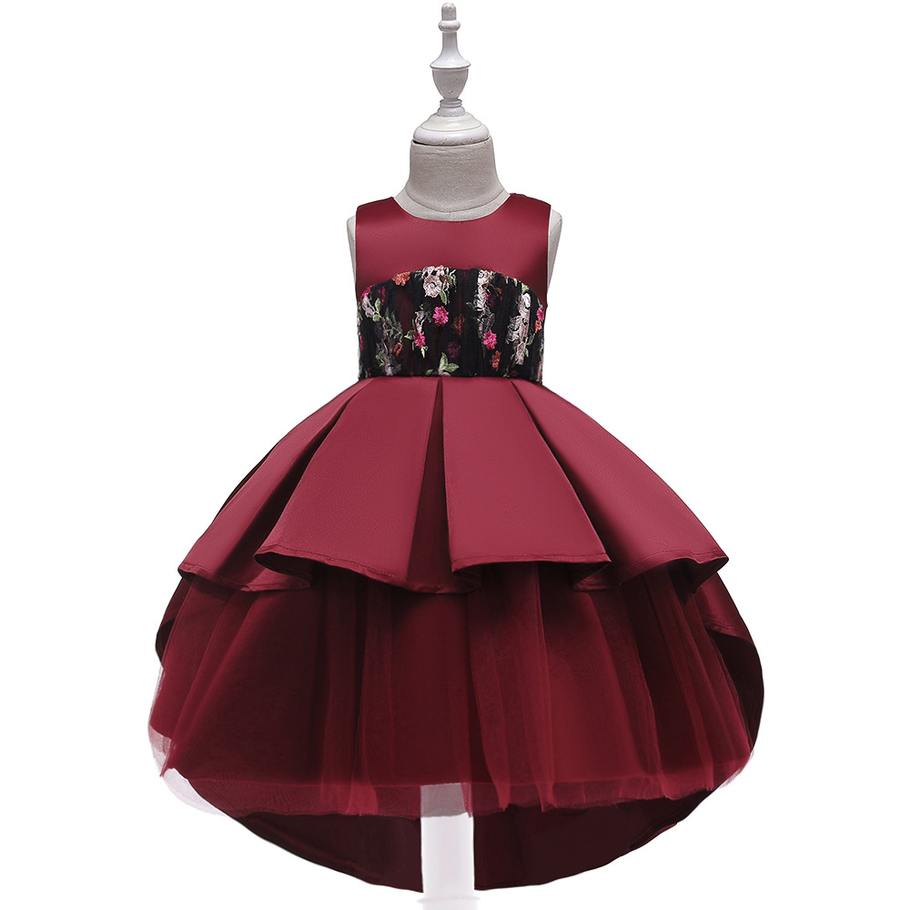 2019 New Style CHILDREN'S Dress Princess Dress Gauze Tutu Embroidery Tailing Catwalks Service GIRL'S Gown