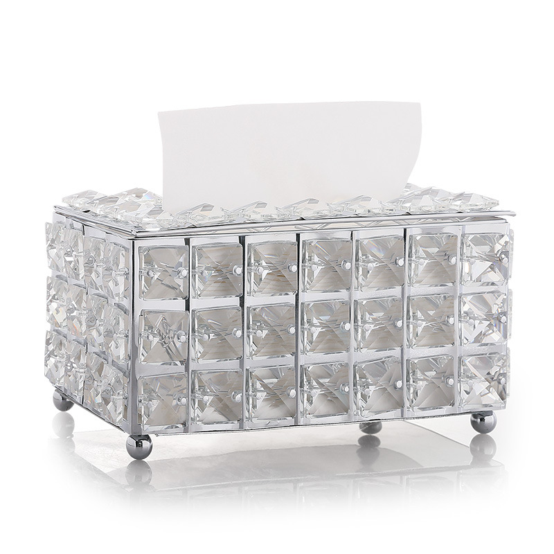 1pc Rhinestone Tissue Box Paper Rack Office Table Accessories Facial Case Holder Creative Napkin Tray Decoration