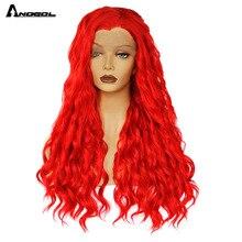 Anogol perucas de cabelo longo vermelho fibra de alta temperatura peruca dianteira do laço sintético para mulher drag queen