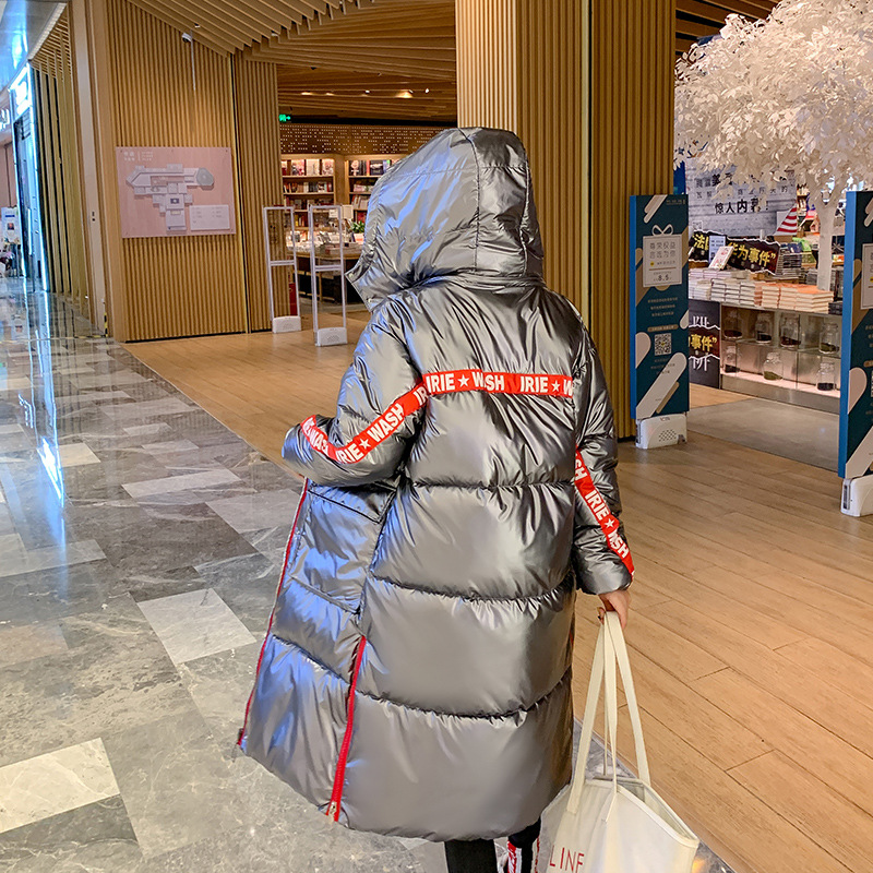 Fashion Glossy Womens Winter Jacket Coat 2019 New Arrival Warm Thicken Ladies Coat Silver Gray Long Coats   Parka   Womens Jackets