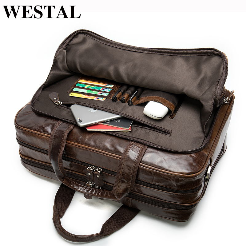 WESTAL Men's Genuine Leather Briefcase/bag Office Bags For Men Leather Laptop Bag Porte Document Business Travel Shouler Bag