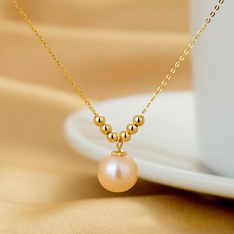 Женское Ожерелье с пресноводным жемчугом SA SILVERAGE18K, желтое золото, розовые/белые/фиолетовые ожерелья с круглым жемчугом