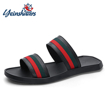 YEINSHAARS Top Quality Men Leather Shoes Flip Flops Anti-slip Mens Striped Comfortable Massage Beach Slippers Sneakers
