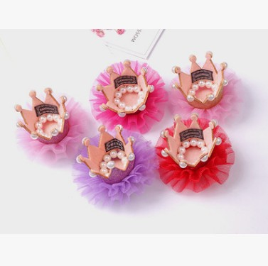 Lovely Lace Crown Rose Bear Decorative Accessories With Hair Clip Pearl Princess Crown