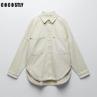 Za Streetwear Jean Jacke Frauen Kleidung Lose Jeans Denim Mantel 2021 Neue Jacken für Frauen Feste Beiläufige Denim Jacke