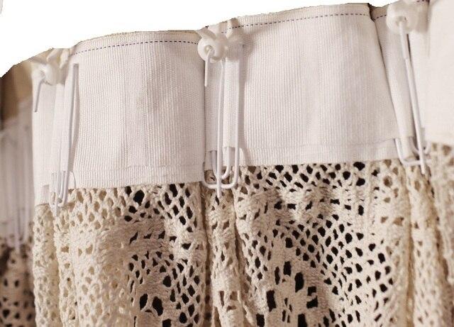 Junwell amerykański styl Country ręcznie bawełniane koronki nici szydełku francuskie okno kurtyna Hollow gotowy ozdobna zasłona