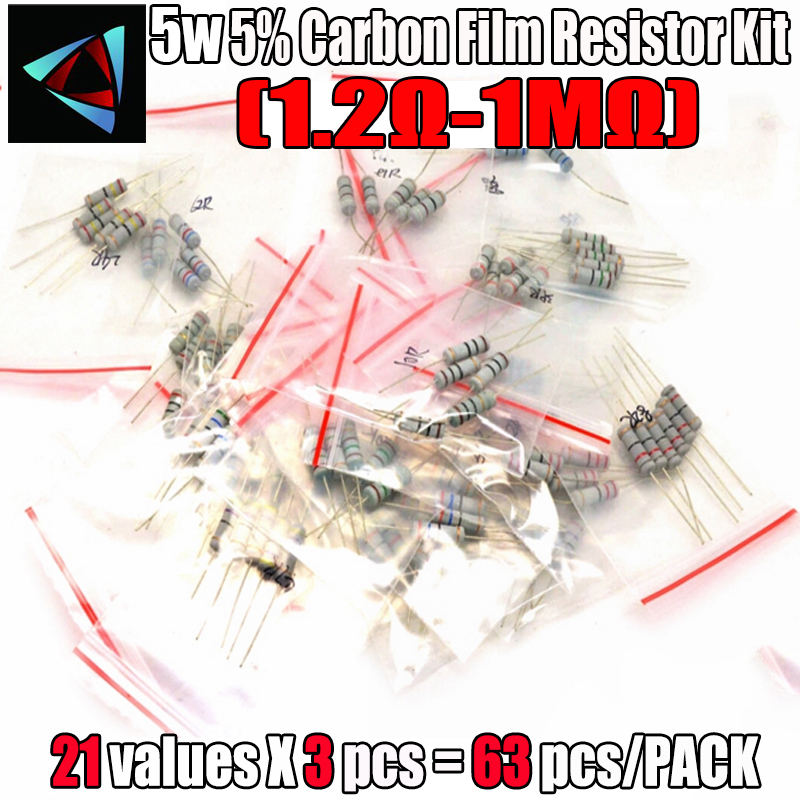 Free shipping 63PCS/LOT 5W resistor package 5% 1.2R-1M 21Values*3=63Pcs Commonly kits carbon Resistors Assorted kit