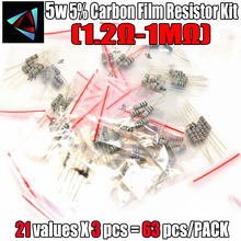 Купить с кэшбэком Free shipping 63PCS/LOT 5W resistor package 5% 1.2R-1M 21Values*3=63Pcs Commonly resistor kits carbon Resistors Assorted kit