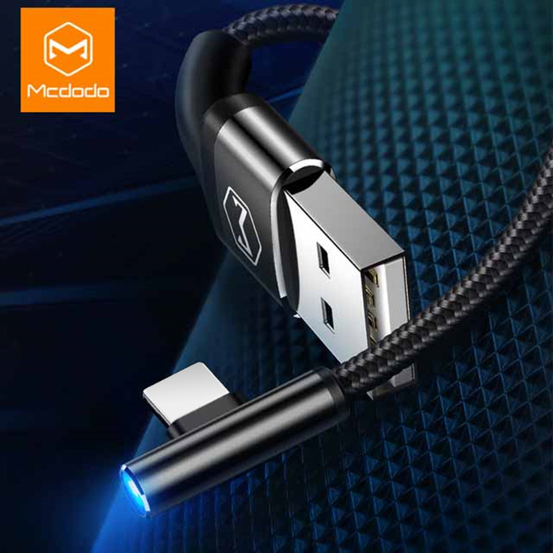 MCDODO Blue Light USB Cable For iPhone X XS Max XR 6s iPad Fast Charging For iPhone Charger Cable Data Cord Mobile Phone Cables-in Mobile Phone Cables from Cellphones & Telecommunications on AliExpress