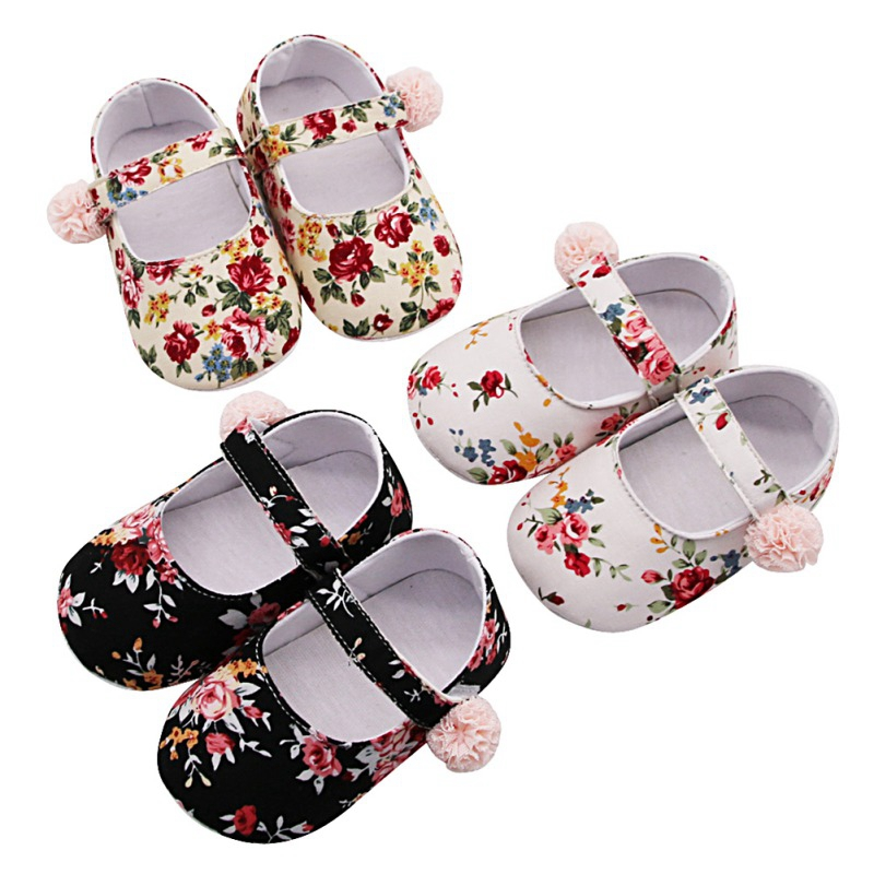 Newborn Baby Prewalker Soft Bottom First Walkers Anti-slip Shoes Footwear Princess Floral Infant Girl Shoe Crib Mary Jane Shoes