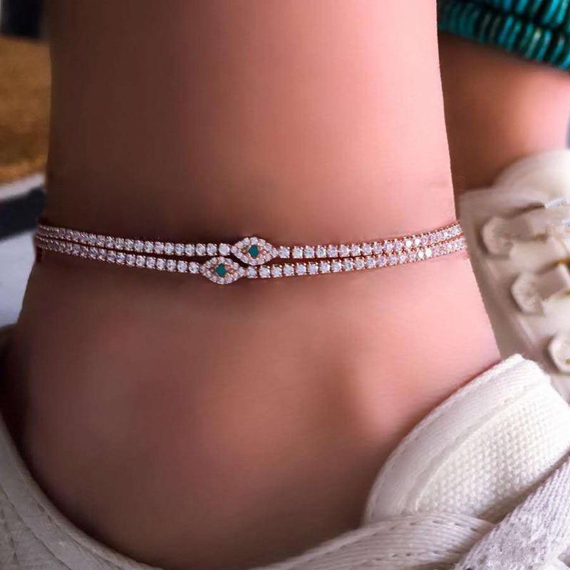 2 Pcs/ Set Boho Fashion Crystal Anklet Rhinestone Gem Gold Anklet Set Women Barefoot Beach Foot Jewelry Accessories