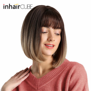 Image 3 - Inhair Cube 10 Inches Bob Synthetic Flat Bangs Women Wig Ombre with Highlight Short Straight Hair Wig  Cosplay Hairstyle