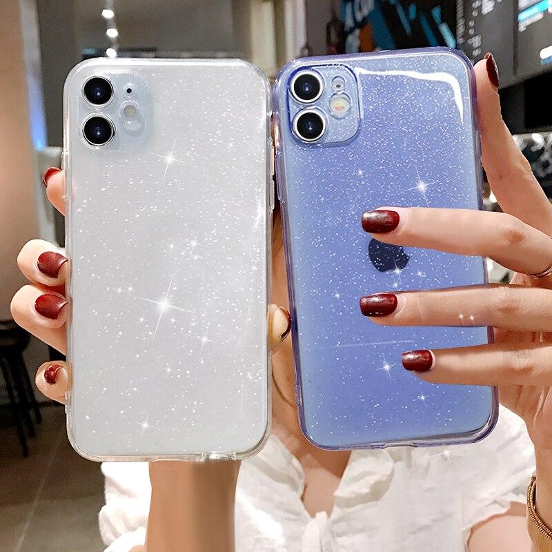 Роскошный прозрачный чехол для Iphone 12 Mini 11 Pro XS MAX X XR SE 7 8 plus, мягкий силиконовый фиолетовый зеленый оранжевый чехол|Специальные чехлы| | АлиЭкспресс