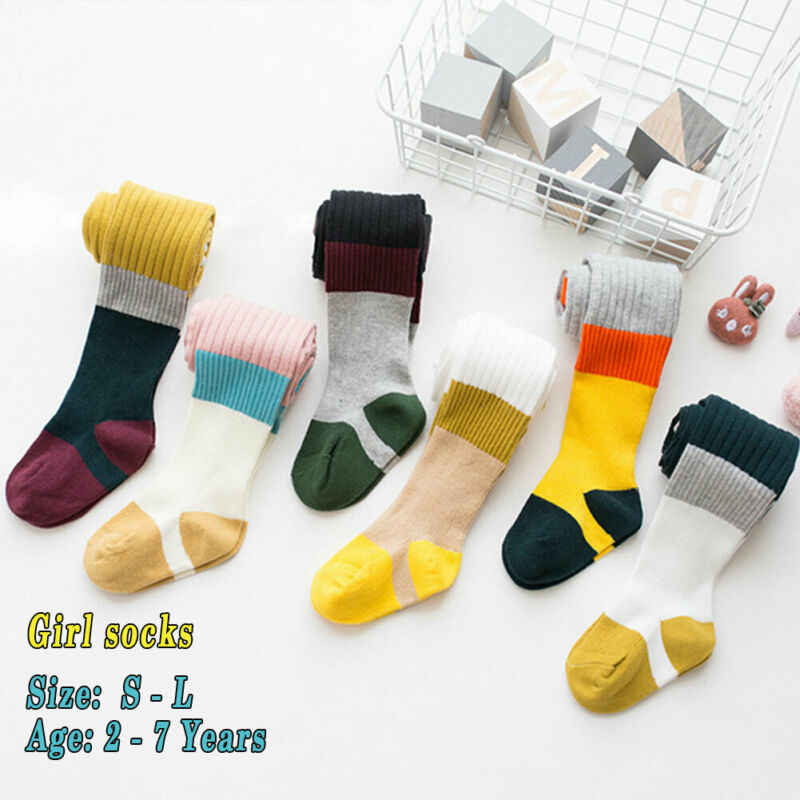 bRand New Baby Tights Infant Baby Girl Kid Style Knee High Base Color Matching Striped Autumn Winter Autumn Fashion Hot 2019