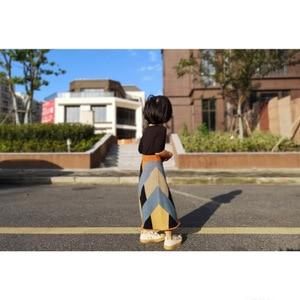 Image 4 - בנות סריגה טלאי צבע חצאית ילדי אופנה בדרגה גבוהה בנות ארוך חצאיות ילדי בגדי 0.8kg #39