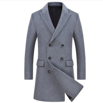 Brand Double Breasted Pea Coat Men 2018 Winter Mens Cashmere Coat Slim Fit Wool & Blends Mens Trench Coat Manteau Homme Overcoat