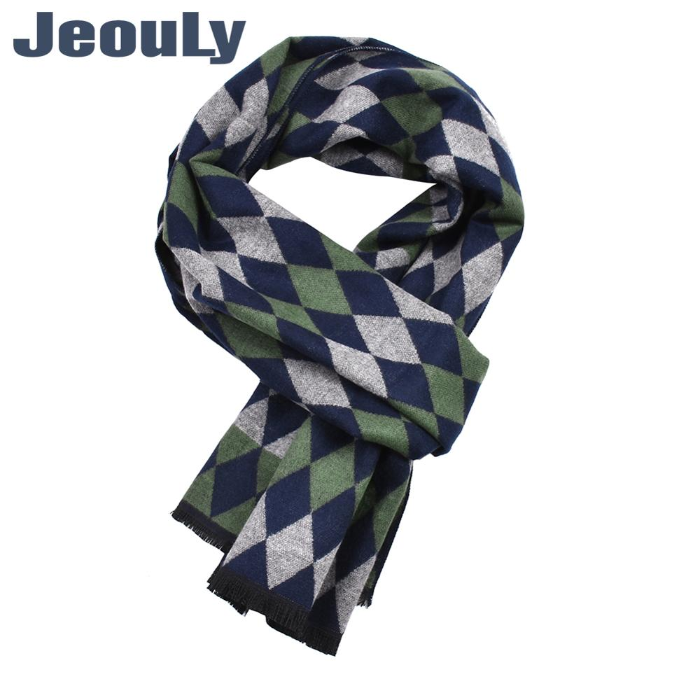 Business Cotton Scarf Luxury Classical Warm Rhombus Geometry Long Soft Cashmere Winter Scarves For Men Winter Accessories Male