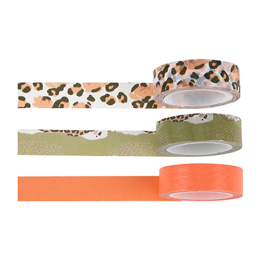 Leopard Washi Tape Set Of 3 Rolls 15MM Width Paper Adhesive Masking Decorative Tapes Self-stick For DIY Scrapbooking Decor