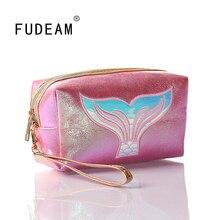 FUDEAM – sac à main en cuir queue de sirène pour femmes, trousse de toilette, trousse de toilette, Portable, trousse de maquillage étanche, trousse de lavage pour femmes