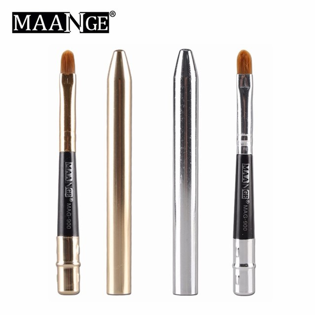 Collapsible Gold Silver Lips Makeup Brush Pen Metal Handle Cosmetic Lipgloss Lipstick Lip Gloss Brush With Protect Cap 4