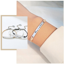 Bracelets Jewelry Charm Gifts Stainless-Steel Adjustable Best-Friends Personalized Women