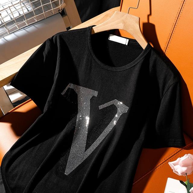 "Fashion Leisure hot diamonds alphabet ""V"" short-sleeve t-shirt female 2021 summer new Round neck hot drill loose women tops 3"