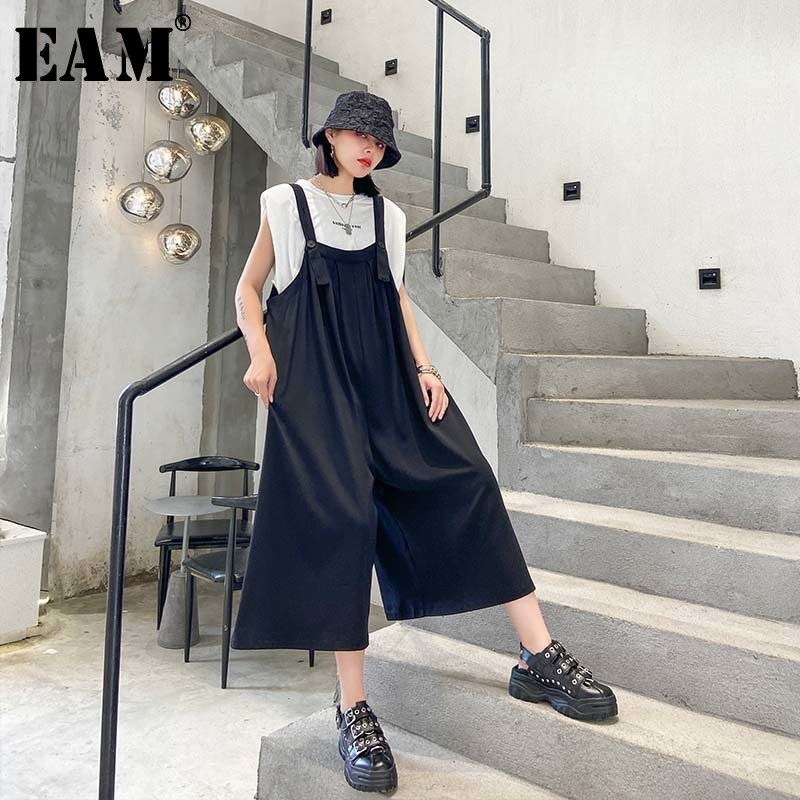 [EAM] High Waist [black Brief Wide Leg Overalls Trousers New Loose Fit Pants Women Fashion Tide Spring Summer 2020 1U715