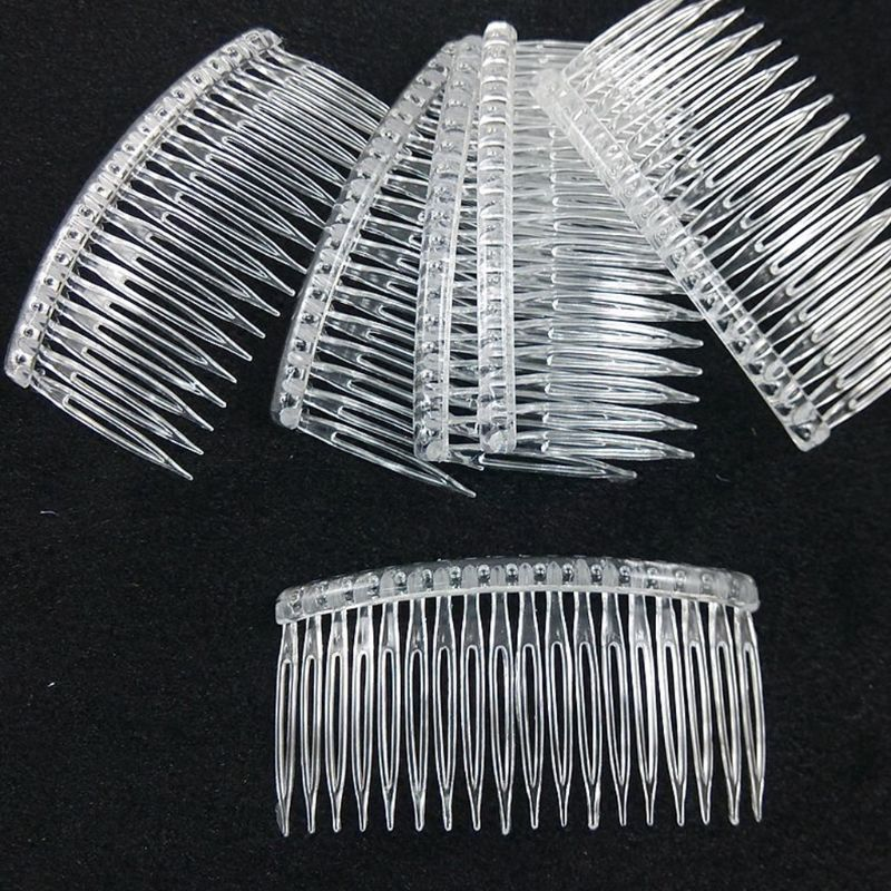 10 Pcs/set Bride Tiara Veil Comb Plastic Black White Transparent Fork Combs