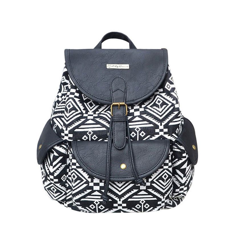 LILY QUEEN Women Backpacks Female Vintage Backpack For Girls Shoulder Bags Geometrical Print Canvas PU Rucksack