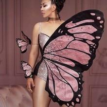 Bling pembe kelebek kanatları Rhinestones Bodysuit dans kostümü kadınlar partisi göster performans sahne giyim cadılar bayramı Cosplay kostüm