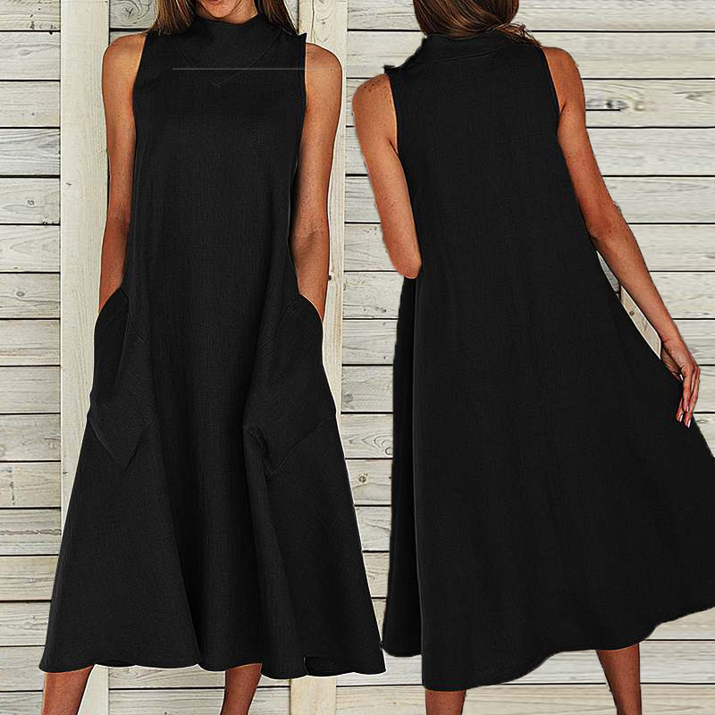 VONDA Sleeveless Dress 2019 Women Sexy O Neck Vintage Maxi Long Dresses Casual Loose Party Vestidos Plus Size Sundress 5XL Robe