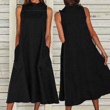 Женское платье без рукавов VONDA, винтажное длинное платье макси с круглым вырезом, повседневные свободные вечерние платья размера плюс 5XL, 2020Платья    АлиЭкспресс