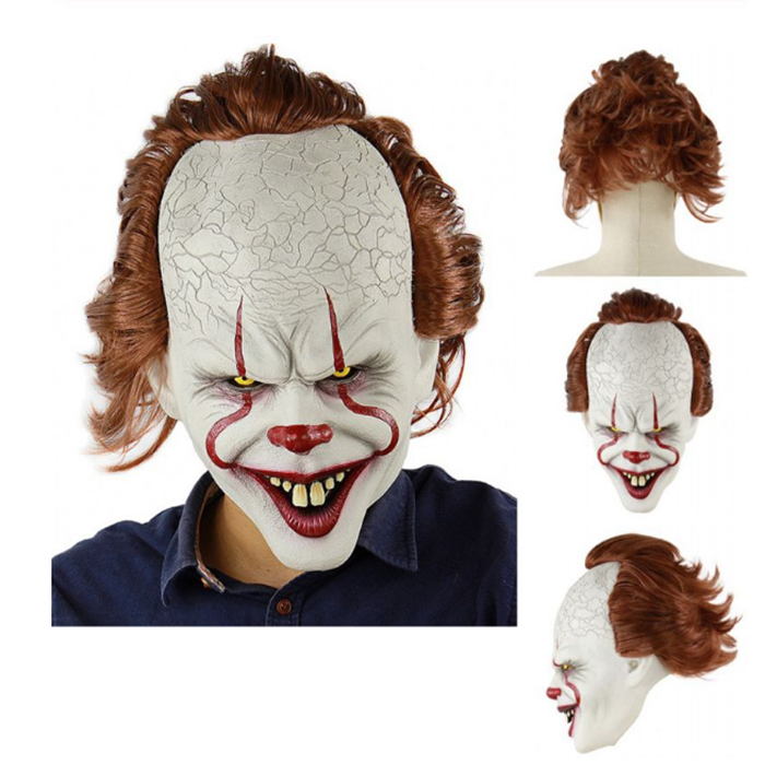 Stephen King's Halloween Prop Clown Mask Prank Horror Toys Cosplay Costume Props Simulation Mask Party Decoration Funny Gift