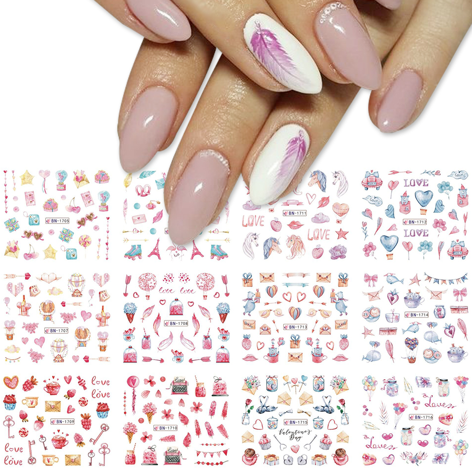 12pcs Valentines Manicure Love Letter Flower Sliders for Nails Inscriptions Nail Art Decoration Water Sticker Tips GLBN1489-1500 29