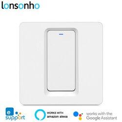 Lonsonho eWeLink inteligentny włącznik Wifi 1 2 3 Gang Push Button ue UK 220V bezprzewodowy pilot działa z Alexa Google Home Tmall w Moduły automatyki domowej od Elektronika użytkowa na