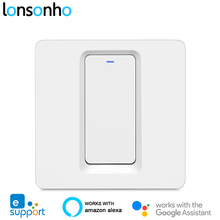 Lonsonho eWeLink interruptor inteligente, 1, 2 y 3 entradas con Wifi, botón pulsador para UE, Reino Unido, 220V, Control remoto inalámbrico, funciona con Alexa, Google Home, Tmall