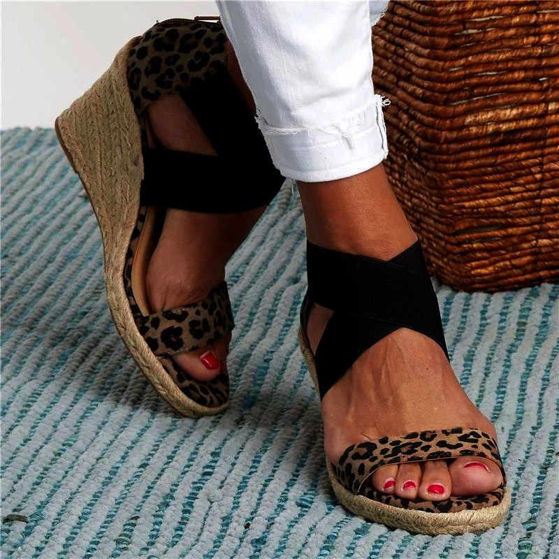 Yaz kadın sandalet elastik bant Peep Toe kadın takozlar ayakkabı çapraz kravat platformu kenevir alt bayan sandalet kadın artı boyutu 2020