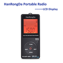 Hanrongda rádio portátil aeronaves banda receptor fm/am/ar rádio banda mundo com display lcd botão de bloqueio bolso rádio com fone de ouvido