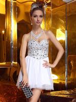 free shipping 2015 new design hot seller short dress Ladies Rhinestone Mini Ball Gown Dress For white Proms dress Events Races