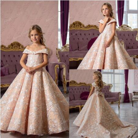 High Quality Satin   Flower     Girl     Dress   with Soft Lace Off Shoulder Backless Lace Up Back Bow Sexy   Girls   Pageant Gowns Custom Made